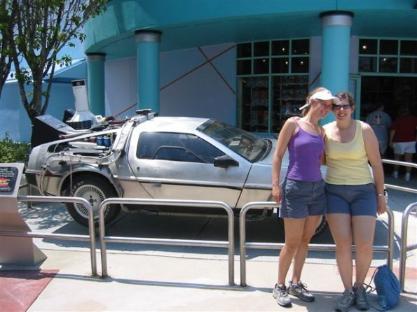 Jo and Jess in front of the delorian