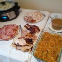 The spread (fried below, smoked above, ham to the left)